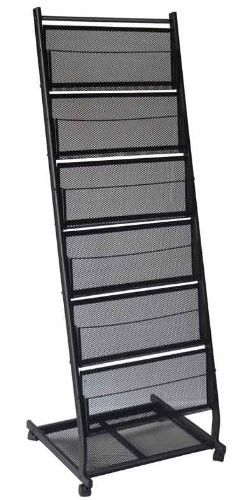 Metal Mesh Black Office Display Racks For Literature And Magazine 6 Shelves