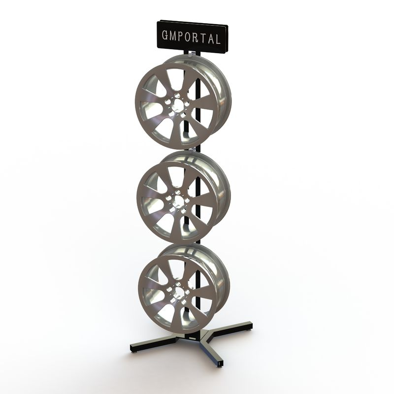 Six Wheels Auto Body Parts Racks , 2 Sides Metal Mag Wheel Display Stand